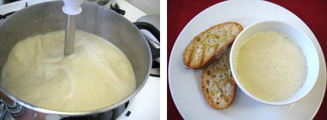Image 1: Blending white bean soup in a pot over a stove using an immersion blender; Image 2: Tuscan White Bean Soup in a white bowl sitting on a white plate with two slices of grilled ciabatta bread