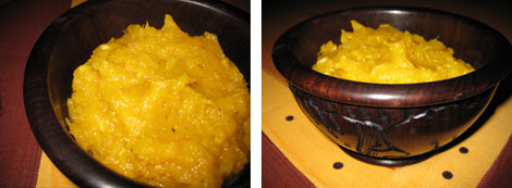 Two images of mashed pumpkin in a wooden bowl on an African print table cloth.