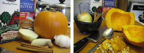 Image 1: Pumpkin, milk carton, broth carton, knive, onion and spices; Image 2: same with pumpkin cut in half and seeded
