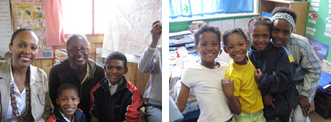 Image 1: Tesia Love and Lawanda Amaker with youth at the Tereo Mission School in Western Cape, South Africa; Image 2: Students smiling in a classroom at the Tereo Mission School supported by the Ithemba Foundation in Western Cape South Africa.