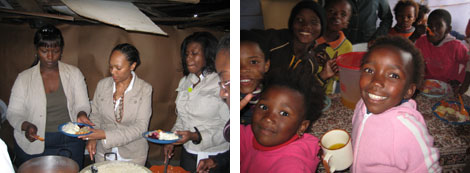 Image 1: Ithemba Foundation delegation visitors serving food in the Wallecedene Township of South Africa. Image 2: Wallacedene Township youth enjoying their Ithemba Foundation-funded meals.