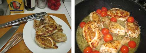 Image of browned chicken set aside, and image of chicken and cherry tomatoes simmering in white wine and chicken broth