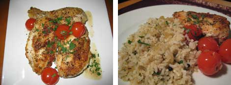 Image of wine-braised chicken and cherry tomatoes garnished with chopped parsley on a white plate, and image of wine-braised chicken with cherry tomatoes and herbed brown rice