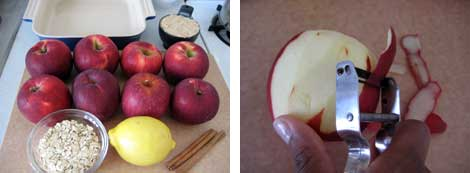 Image 1: ingredients for apple crisp - red jonothan apples, lemon, cinnamon - with a backing dish on a cutting board; Image 2: Close up image of peeling a red apple with a fruit/vegetable peeler