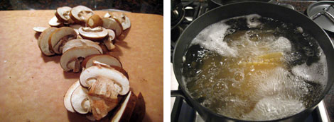 Image 1: Sliced mushrooms on a wooden cutting board; Image 2: Large pot of boiling water with lasagna pasta in it on a stove