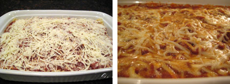 Image 1: Photo of the uncooked lasagne in a white baking dish (cheese sprinkled on top); Image 2: Upclose photo of the cooked lasagna in a white baking dish