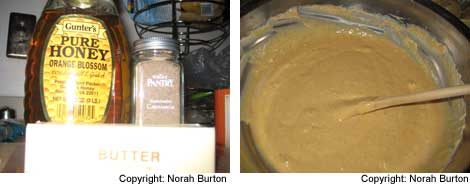 Image 1: Jar of honey, stick of butter in wrapper, jar of ground cardamom; Image 2: Pumpkin pancake batter in a glass bowl with a wooden spoon sticking in the batter