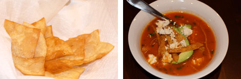 Image 1: Fried triangular tortilla chips on a paper towel in a white bowl; Image 2: Tortilla soup garnished with queso fresco, tortilla strips and avocado in a white bowl with a spoon in the soup