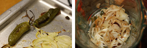 Image 1: Roasted jalapeños and onions; Image 2: Roasted onions and jalapeños in an uncovered blender