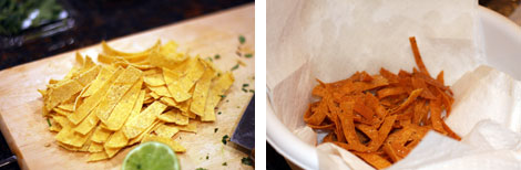 Image 1: Uncooked corn tortillas cut into strips on a cutting board with a half lime; Image 2: Fried tortilla strips on a paper towel in a white bowl