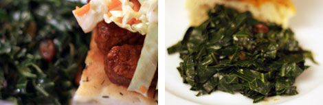 Image 1: Close up image of collard greens on a white plate; Image 2: Close up image of collard greens and part of bbq tempeh on focaccia bread