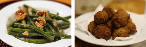 Image 1: Greenbeans dressed in vinaigrette in a shallow white bowl; Image 2: Shallow white bowl of black-eyed pea fritters