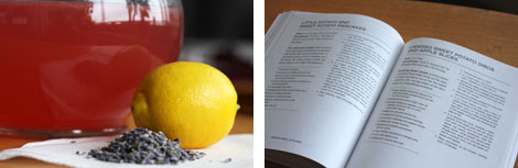 Image 1: Glass pitcher of lavender lemonade (pink) with a pile of lavendar buds and a lemon in front; Image 2: Open VSK cookbook