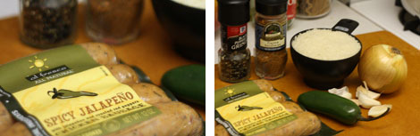 Two images of packaged sausage, jalapeno pepper, rice, garlic cloves, spices and an onion all on a cutting board
