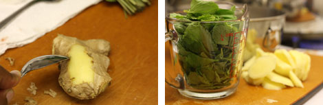 "Image 1: 2"" piece of ginger being peeled with a spoon; Image 2: Measuring cup of mint leaves on a cutting board with sliced mint ginger"