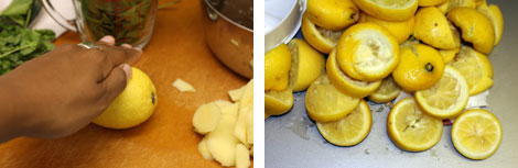 Image 1: Rolling a lemon on a cutting board; Image 2: Squeezed lemon halfs
