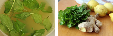 Image 1: Ginger mint lemonade in a plastic pitcher with mint leaves; Image 2: Fresh mint, unpeeled ginger and lemons on a table - ingredients