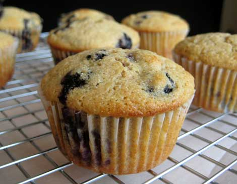 Close up of whole grain blueberry muffins in white muffin cups on a silver cooling rack