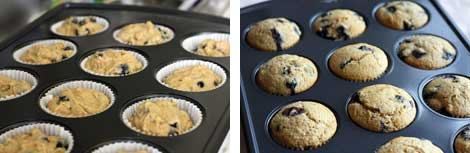 Image 1: Uncooked muffin batter in white muffin cups in a 12-cup, non-stick muffin pan; Image 2: Cooked whole grain blueberry muffins in white muffin cups in a 12-cup, non-stick muffin pan