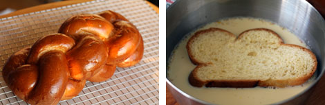 Image 1: Challah Bread on a baking rack; Image 2: Slice of bread in a french toast dipping batter in a stainless steel bowl