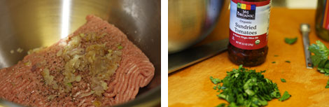 Image 1: Ground turkey in a stainless steel bowl with sauteed onions and spices; Image 2: Jar of sun-dried tomatoes on a cutting board with chopped flat-leaf parsley