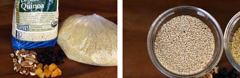 Image 1: Bag of organic quinoa with chopped pecans and dried currants and apricots sitting on a wooden table; Image 2:Uncooked quinoa grains in a small glass bowl