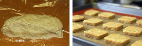 Image 1: Chai spice cookie dough formed into a log on a piece of platic wrap; Image 2: Slices of unbaked chai spice cookies on a silpat lined cookie sheet