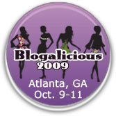 Purple illustrated round button of Blogalicious 09 Atlanta, GA October 9 - 11