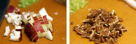 Image 1: A half red apple diced on a cutting board; Image 2: Chopped, toasted pecan halves on a cutting board.