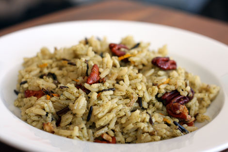 Orange-Pecan Wild and Long-Grain Rice in a white bowl
