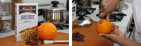 Image 1: Box of Near East Wild and Long-Grain Rice with a navel orange, toasted pecans and zester; Image 2: Tesia's hands holding and zesting a navel orange