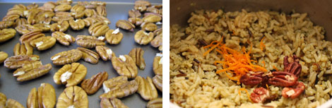 Image 1: Raw pecan halves on a baking sheet; Image 2: Sauce pan of cooked wild and long-grain rice with two teaspoons of orange zest in a heap and 1/4 cup of toasted pecan halves in a heap over the rice
