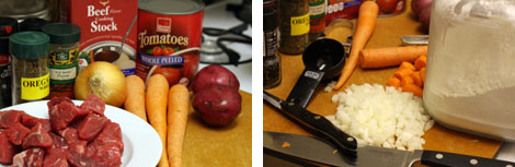 Image 1: Ingredients for beef stew sitting on a brown cutting board - carrots, raw beef, red potatoes, canned tomatoes, oregano & time; Image 2: Diced onions and chopped carrots on a cutting board with a chef's knife, serrated knife and black measuring cup.