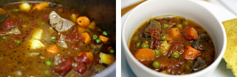 Image 1: Beef stews with carrots, peas, potatoes and tomatoes simmering in a large stainless steel pot; Image 2: Beef stews with vegetables in a white bowl on a white plate with a wedge of cornbread on the side