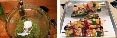 Image 1: Chermoula sauce in the bowl of a large food processor sitting on a brown cutting board; Image 2: Grilled shrimp and vegetable kabobs on skewers along side grilled chermoula marinated mahi-mahi all sitting on a stainless steel baking sheet
