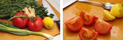 Image 1: Ingredients for chermoula sauce - parsley, cilantro, green onions, lemon, tomatoes; Image 2: Quartered tomatoes and halved lemon on a cutting board