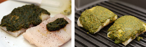 Image 1: Raw halibut cuts with chermoula sauce on one and a dab of sauce on the other; Image 2: Chermoula marinated halibut (two piece) on a cast iron grill pan