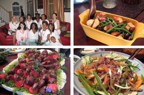 Image 1: Shakti Mind Body Studio Yoga Teacher Trainees 2009-2010; Image 2: Roasted green beans and potatoes in a yellow dish; Image 3: Chocolate dipped strawberries; Image 4: Asian noodles with sauteed tofu and green onions