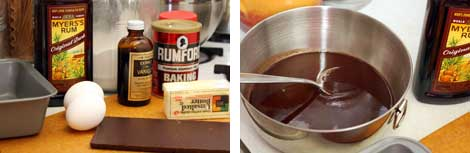 Image 1: Ingredients - 4 oz. chocolate bar, butter, two eggs, baking powder, and a bottle of dark rum all sitting on a cutting board; Image 2: Melted chocolate in a stainless steel bowl with a bottle of dark rum