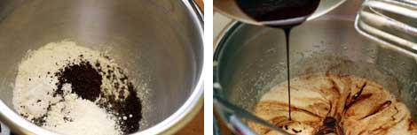Image 1: Stainless steel bowl of dry rum brownie ingredients - flour, expresso powder, baking powder, salt; Image 2: Melted chocolate in a small stainless steel bowl being poured into the wet ingredients (eggs and sugar) in a larger stainless steel bowl