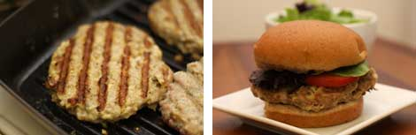 Image 1: Grilled turkey burgers on a cast iron grill pan; Image 2: An assembled turkey burger on a whole grain bun wit lettuce and tomatoes all sitting on a small, square white plate on a wooden table