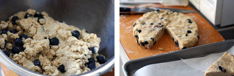 Image 1: Blueberry scones dough in a stainless steel bowl; Image 2: Blueberry scones dough patted out on a wooden cutting board and cut into wedges