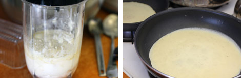 Image 1: Batter for crepes in a small blender. Close up photo.; Image 2: Crepe batter thinly spread in a non-stick skillet.