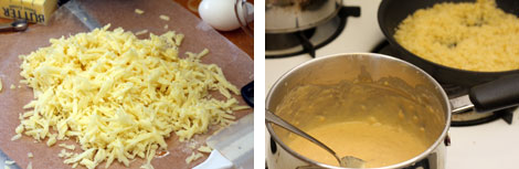 Image 1: Shredded Cheese on wax paper; Image 2: Spiced roux in a small sauce pot beside a pan of toasted, buttered panko breadcrumbs