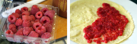 Image 1: Fresh raspberries in a plastic container (pint size) on a brown cutting board; Image 2: Cooked crepe unfolded with raspberry filling spread on half of the crepe, all on a white plate.