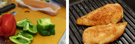 Image 1: Sliced red and green bell peppers on a wooden cutting board with turkey sausage links in the background; Image 2: Raw chicken breast covered in spices on a black grill pan.