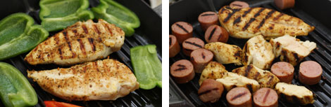 Image 1: Cooked, spiced chicken breast on a black grill pan with sliced green bell peppers also on the grill pan; Image 2: Sliced smoked turkey sausages with grill marks and cooked grilled chicken breast all on a black grill pan.