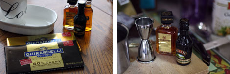 Image 1: White mug and plate along with two bars of chocolate in wrappers and minature bottles of Bailey's Irish Cream, Disarono Amaretto and E&J Brandy; Image 2: Silver jigger and minature bottles of Bailey's Irish Cream and Amaretto all on a cutting board.