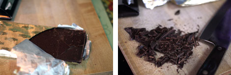 Image 1: Partially unwrapped bar of dark chocolate in gold foil wrapper - sitting on a light brown cutting board; Image 2: Chopped dark chocolate squares on a brown cutting board along side a silver chef's knife