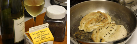 Image 1: White wine, mustard seeds, 1/2 pint carton of heavy crem; Image 2: Two sauteed chicken cutlets in a stainless still pan
